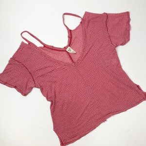 FP WE THE FREE cut out shoulder slouchy tee XS